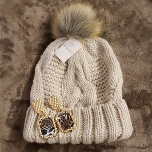 💕Cable knit pom, pom winter cap